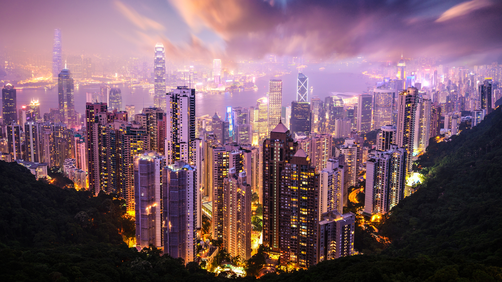 Hong Kong, China skyline from Victoria Peak.